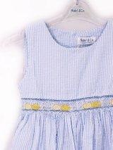 Malvi&Co.(マルヴィ) レモンスモッキングワンピース(ペールブルーサッカーストライプ) 3歳4歳