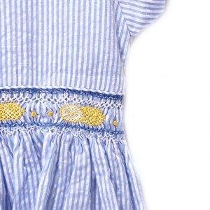 画像2: Malvi&Co.(マルヴィ) 半袖レモンスモッキングワンピース(ペールブルーサッカーストライプ) 6歳116cm