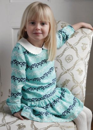画像1: Rachel Riley(レイチェル・ライリー)Bow Stripe Peter Pan Collar Dressリボンストライプワンピース 3歳4歳6歳