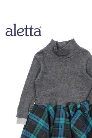 画像1: ALETTA(アレッタ) ニット切替長袖ワンピース 2歳92cm