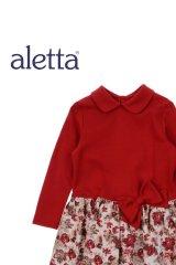 ALETTA(アレッタ) 切替長袖ワンピース(花柄×レッド) 2歳92cm
