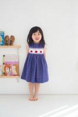 サイズ調節可能なスモッキングワンピース(さくらんぼ) 4歳5歳6歳
