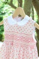 ピンクのお花とドットのスモッキングワンピース 3歳〜5歳