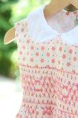 画像2: ピンクのお花とドットのスモッキングワンピース<br>3歳〜5歳 (2)