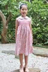 果実の実る高原のスモッキングワンピース(ピンク系) 5歳115cm