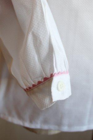 画像4: ブラウス/パフスリーブ/丸襟/長袖/ピンクトリミング/後ろボタン 7歳130cm