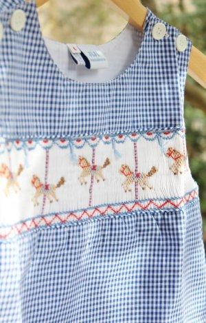 画像3: 【ボーイズオーバーオール】回転木馬のスモッキング刺繍 12か月1歳