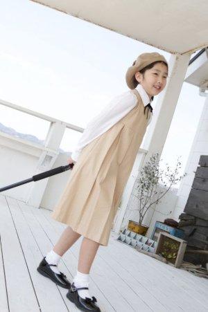 画像1: 【JiJiオリジナル】 プリンセスラインワンピース/ジャンパスカート(ベージュドット) 2歳〜8歳